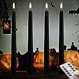 Dark Black Flameless Taper Candles.for Orange Pumpkin Lights LED Battery Operated.Halloween Jack.LED Battery Operated Hallowe