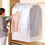 SubClap Garment Cover Hanging Clothes Bag Organizer 47 inch, Translucent Dustproof Waterproof Garment Bags for Storage Suit S