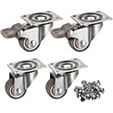 "bayite 4 Pack 1"" Low Profile Casters Wheels Soft Rubber Swivel Caster with 360 Degree Top Plate 100 lb Total Capacity for Set"