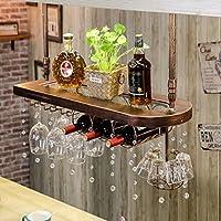 ヨーロッパのソリッドウッド家庭用ワインラックワインラックパーソナリティカップホルダークリエイティブバーワインラックゴブレットラック (色 : ブロンズ, サイズ さいず : 100cm)
