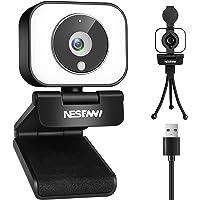 NESENNI Webカメラ マイク内蔵 フルHD 1080P LEDライト付き ウェブカメラ オートフォーカス 三脚付…