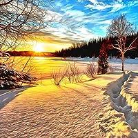 Gyqsouga カスタム3D写真壁紙日の出雪景色寝室テレビ背景壁壁画絵画の装飾壁紙壁装-260X180CM