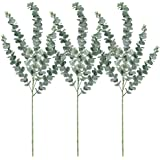 """Supla 3 Pcs Faux Eucalyptus Leaves Spray Artificial Eucalyptus Branches Plants Artificial Greenery Stems 35"""" Tall in Grey Gre"""