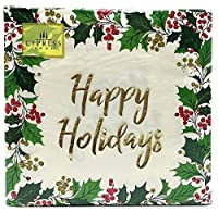 CypressホームHolly Border Luncheon / Dinner Napkins – 40 Count