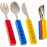 Toddler Utensils and Brick Toys - Set of 3 Interlocking Block Kids Silverware - Toddler Fork and Spoon Set with Toddler Knife