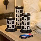 CTFIVING Power Strip Tower Surge Protector Power Board Charging Station 2500W 11 Outlets 2 USB Ports Heavy Duty Extension Cor