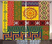 VamJump 原始的な遮光カーテン垂帘 窗帘 昼夜目隠し 遮像 デコレーション 取り付け簡単、抽象的なエスニックパターン装飾品先住民族のスタイル部族のシンボル図、リビングルームの寝室の窓ドレープ、イエローグリーン 2枚組 幅135cm丈215cm