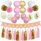 Baby Shower Decorations for Girl - It's A Girl Party Decorations - Garland Banner, Lanterns, Pom Pom, balloons, and Tassel