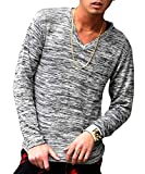 ルービック(RUBIK) ニット カーディガン メンズ カーデ ニットソー セーター Vネック カットソー 薄手 長袖 (セーター)XL ホワイト
