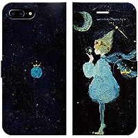 7f450f59cb iPhone8Plus iPhone7Plus 手帳型 ケース カバー 世界少年 よう 月 宇宙 少年 旅 おしゃれ イラスト デザイナー