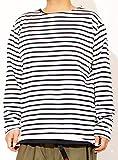 長袖Tシャツ メンズ 大きいサイズ ボーダー ボートネック カットソー バスクシャツ 2L ホワイト
