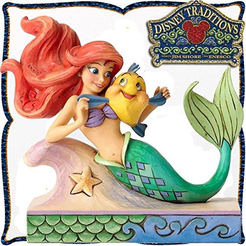 디즈니・tradition 『Ariel with Flounder』 개미 L과 프랑 다 ―  (리틀 머메이드) 레진제 목각조 피규어-