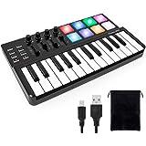 Midi Controller,lotmusic Worlde TUNA PANDA MINI 25 Keys Portable USB Keyboard with 8 RGB Backlit Colorful Drum Beat