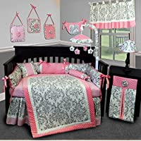 SISI Baby Bedding - Grey Damask 14 PCS Crib Bedding Set incl. Lamp Shade by Sisi