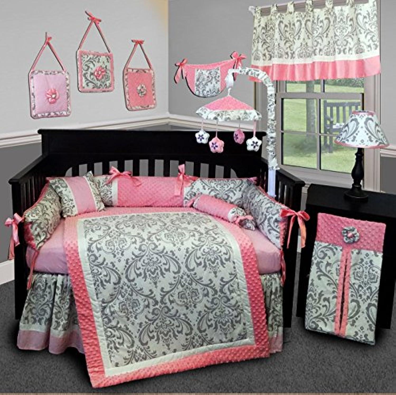 SISI Baby Bedding - Grey Damask 15 PCS Crib Bedding Set by Sisi