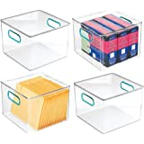 mDesign Plastic Home, Office Storage Organizer Container with Handles for Cabinets, Drawers, Desks, Workspace - BPA Free - fo