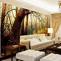 Bzbhart テレビの背景装飾画、壁用ステッカーカスタム大型壁画壁画テレビ背景壁写真リビングルームのソファ背景壁画風景壁紙3D生地壁紙-300cmx210cm