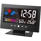 Honeytecs Multifunctional Indoor Colorful LCD Digital Temperature Humidity Meter Clock Thermometer Hygrometer Calendar Temper