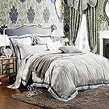 高級ジャガードのサテンの綿/クイーン・キングサイズの寝具セット/グリーンシートと枕カバー掛け布団カバー