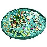 おもちゃ収納バッグ HOMECUBE 直径150cm 子どもプレイマット ブロック片付け ドローストリングバッグ おもちゃ片付け レゴ プレイマット ストレージバッグ防水 (グリーン)