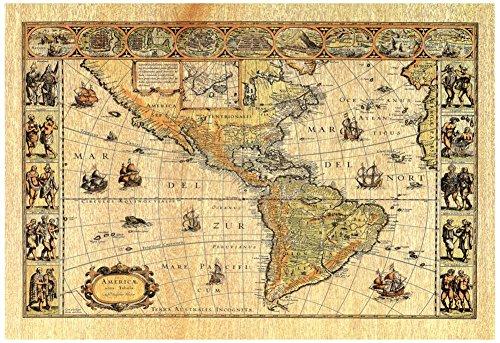 Oldワールドマップ写真# 2アートプリントポスターリトグラフ19x 13...