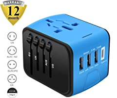 Universal Travel Adapter, Cre-Heaven Travel Power Adaptor Worldwide, All in One Travel Charger with 3 USB & 1 Type-C...