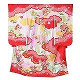 (花ひめ) 女の子 正絹 四つ身着物 長襦袢セット 桃花 鹿の子まり 金糸使用 赤