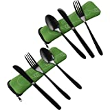 Vababa 6-Piece Black Stainless Steel Travel Flatware, Camping Cutlery with Carrying Case, Service for 2