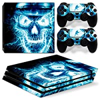 Sony PS4 Playstation 4 Pro Skin Design Foils Faceplate Set - Blue Skull 2 Design