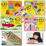 Amazon.co.jp 限定 くもんのすくすくノート NEW できるよひらがな+カタカナ+めいろ+かみこうさく+ABC+名入れ付き4Bえんぴつ 6点セット 3~5歳向