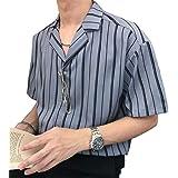 [フ二ンー] Tシャツ 半袖 ストライプシャツ メンズ トップス シャツ 快適 おしゃれ 開襟シャツ イギリス風 男女兼用 ワイシャツ カットソー