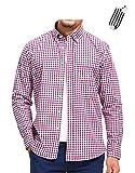 AIKOSHA トリコロール 2XL メンズ シャツ カジュアルシャツ 長袖 ギンガムチェック ボタンダウン ちび襟 綿100% 羽織りに