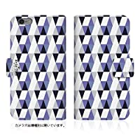 Evis Club 【AQUOS ZETA (SH-03G)】 手帳型 スリム 薄型 [ トライアングル 幾何学柄 2421 ] カード収納
