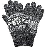 (エクサス)EXAS タッチパネル対応ソフトウールミックス雪柄ニット手袋