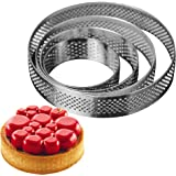 AICHEF Circular Stainless Steel Porous Tart Ring Bottom Tower Pie Cake Mould Baking Tools.French Baking Household Pressure To