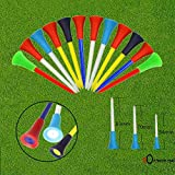 FINGER TEN Plastic Golf Tees 2 3/4 3 1/4 2 1/8 Height Long Short Value 50 Count, Multicolor Rubber Cushion Durable Bulk Color
