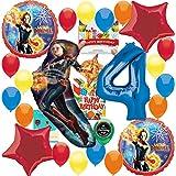 キャプテン マーベル パーティー用品 4歳の誕生日 バルーンデコレーションバンドル 誕生日カードと8つのお菓子バッグ付き