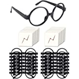 YoHold Wizard Glasses with Round Frame No Lenses and Lightning Bolt Tattoos for Kids Harry Potter Halloween St Patrick's Day
