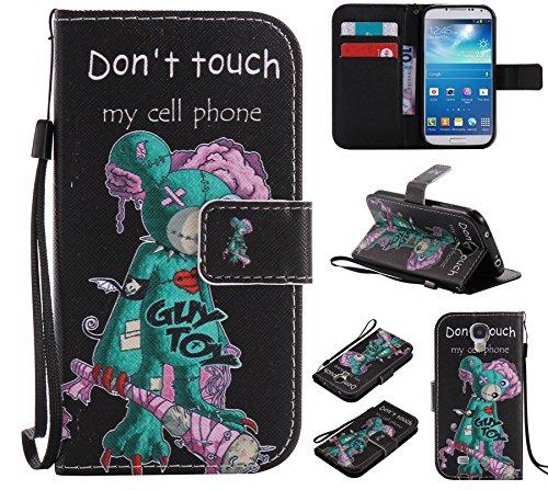 Ooboom Samsung Galaxy S4 ケース 手帳型 横開き カバー 革 マグネット式ド収納 スタンド機能 財布型 カード おしゃれ フリップ ために Samsung Galaxy S4 - Don't Touch My Cell Phone