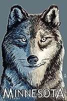 ミネソタ–Wolf Up Close 9 x 12 Art Print LANT-40827-9x12