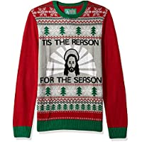 Christmas Ugly Sweater Co Mens SYP7-5150BAMZ Jesus - Tis The Reason for The Season Sweater Suit Jacket - red