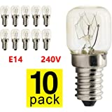 10pcs Appliance Oven Bulbs Replacement Bulbs for Salt Lamps & Incandescent Lights E14 Base Clear Oven Lamp Bulb Heat Resistin