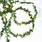 Ultrastar 100LEDs Battery Powered Green Leaf Rattan Garland String Light Warm White Wedding Party Christmas Holiday Patio Dec