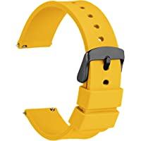[WOCCI]ラバーベルト シリコン14mm 防水時計替えベルト Quick Release ゴム腕時計バンド イェロー…