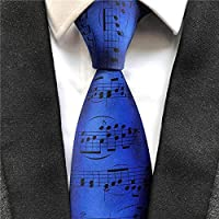 Wine Color Music Notation Necktie Ceremony Happy Anniversary Wedding Party Ties Cravat for Musician Concert