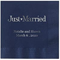 Just Married Beverage Cocktail Napkins Navy Blue Napkins with SILVER Foil - set of 100 paper napkins by Canopy Street
