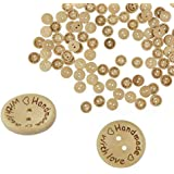Akak Store 100 Piece Per Pack 25mm 2 Holes With Love Hearts Wood Buttons Sewing Scrapbooking Round Handmade Buttons DIY Decor