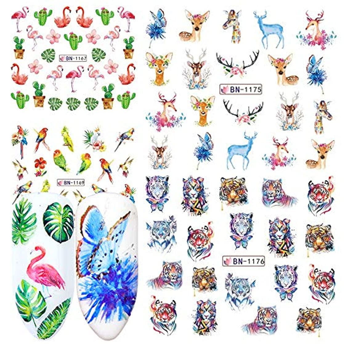 成熟架空の気質SUKTI&XIAO ネイルステッカー 12個ネイルステッカー水デカール花漫画動物デザインスライダーマニキュアネイルアート装飾