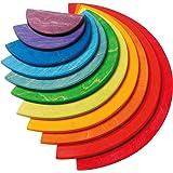グリムGRIMM'S 玩具 おもちゃ 知育玩具 木製 積み木 見立て遊び ボード 高さ18.5×幅37×厚み0.8cm(最大パーツ) レインボーセミサークル
