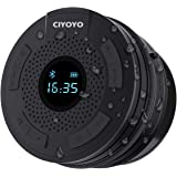 Shower Radio Bluetooth Speaker 5.0 Waterproof Bathroom Radio, CIYOYO Wireless Shower Speakers with Clock Suction Cup Lanyard